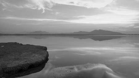 black and white tone on the lake photo