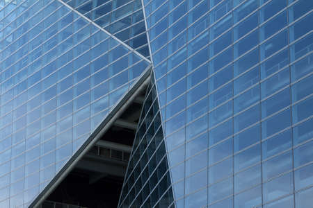 Glass wall of office building windows photo