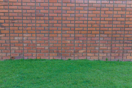 Old Red brick wall and green grass photo