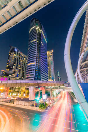 distric: Public skywalk with office building - Marchl 15 2015 : Office building architecture style modern ,business area in city of Bangkok, Thailand