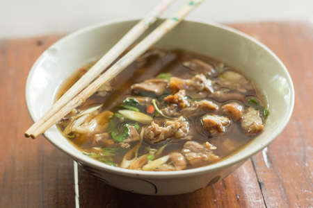 entrails: Thai cuisine and food delicious thai clear spicy hot and sour soup with beef entrails in a bowl Stock Photo