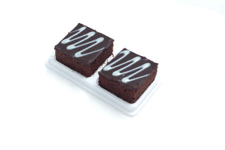 isolate: Fresh chocolate brownies isolates on white background