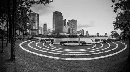 benjakitti: Bangkok, Thailand - Marchl 21 2015 : Landscape of Bangkok city. Capture from Benjakitti Park in Bangkok. black and white theme Editorial