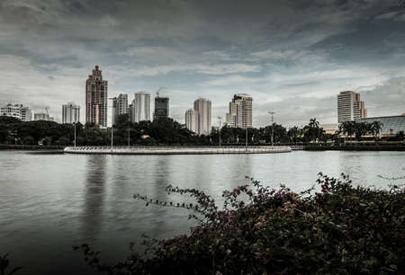 benjakitti: Bangkok, Thailand - September 13 2015 : Landscape of Bangkok city. Capture from Benjakitti Park in Bangkok.Image processed in horror theme
