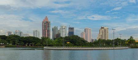 benjakitti: Bangkok, Thailand - September 13 2015 : Landscape of Bangkok city. Capture from Benjakitti Park in Bangkok