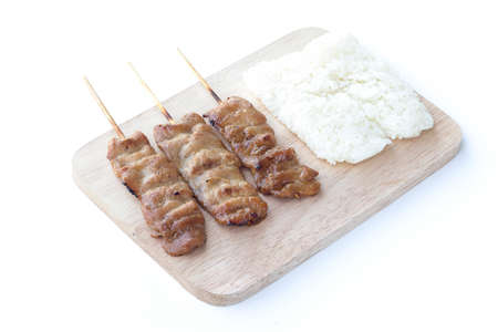 meat alternatives: Grilled pork in asian style sticky rice that in Thailand is famous food for breakfast