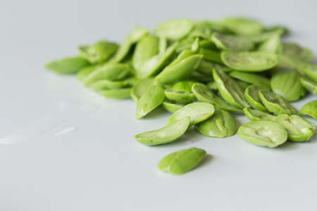 stinking: The fresh Parkia on white background  which is tropical stinking edible beans, Thailand