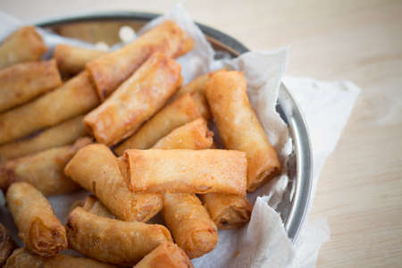 deep fried: Deep fried spring rolls and deep fried chicken rolls that ready for servingselective focus