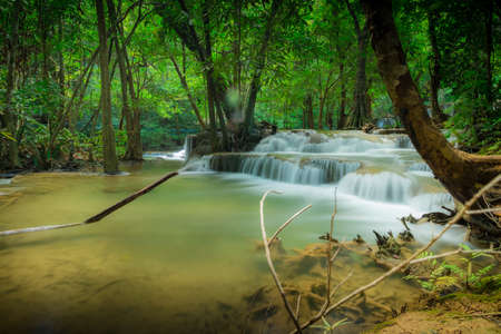 huay: Waterfall in the deep forest at Huay Mae Kamin waterfall National Park, Thailand Stock Photo