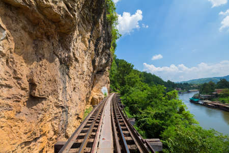 Death railway along The River Kwai, built by prisoners of war during World War II, Thailand Stock Photo