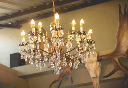 cutglass: Home interiors Chandelier on ceiling. Vintage chandelier. Luxury chanderlier for home decoration.(turn on the light)