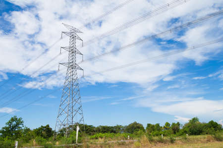 post: High voltage post or High-voltage tower in a rice field