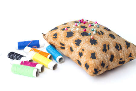 pin cushion with tiger pattern isolated on white background