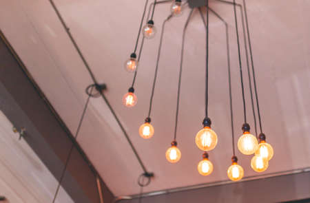 picture of Loft style of light bulbs for decorated interior room of cafe