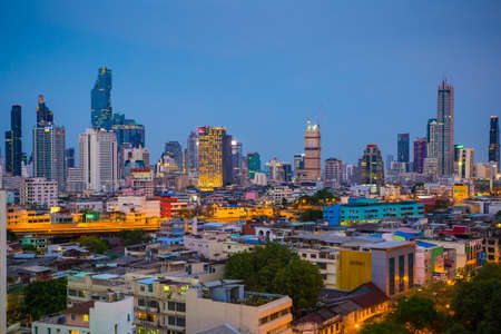Bangkok Thailand - April 7 2019 : Landscape of Bangkok city at twilight time with bird view. Capture from highest office building in Bangkok (central of bangkok) Publikacyjne