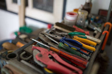 Different construction tools with Hand tools for home renovation and maintenance and reparing concept