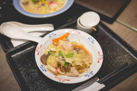 seafood sara udon japanese cuisine. Traditional Nagasaki fried noodle.