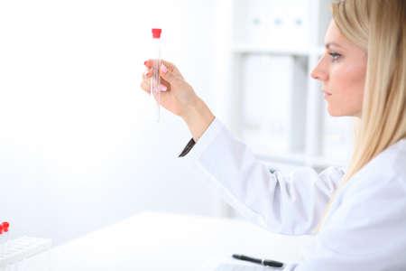 Female scientific research in laboratory