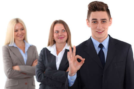 ok hand: Group of business people, ok hand sign Stock Photo