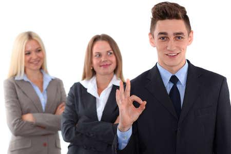 recursos humanos: Grupo de personas de negocios, muestra aceptable mano Foto de archivo