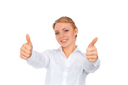femme pouce leve: Business woman woman thumbs up, blonde girl