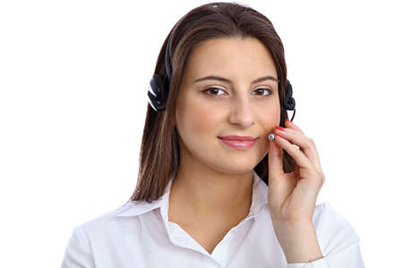 call center people in isolated: Support  phone operator in headset