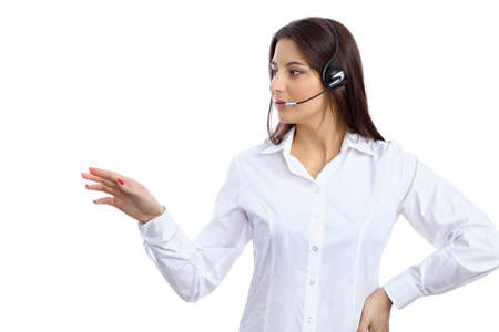 call center representative: Support  phone operator in headset showing copyspace area