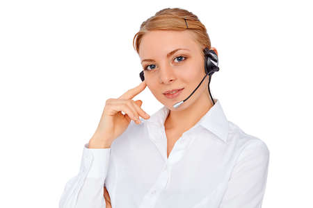 call center representative: Support phone operator  in headset, blonde girl, isolatedblond girl, isolated
