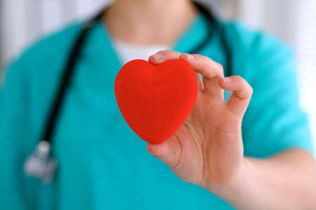 hospital patient: Female surgeon doctor with stethoscope holding heart