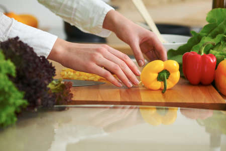 cooking oil: Closeup of human hands cooking vegetables salad in kitchen on the glass table with reflection. Healthy meal and vegetarian concept Stock Photo