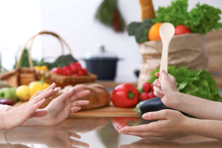 Two women discussing a new menu in the kitchen, close up. Human hands of two persons gesticulating at the table among fresh vegetables. Cooking and friendship concept