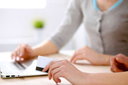 card making: Two friends or sisters making on line shopping by credit card.