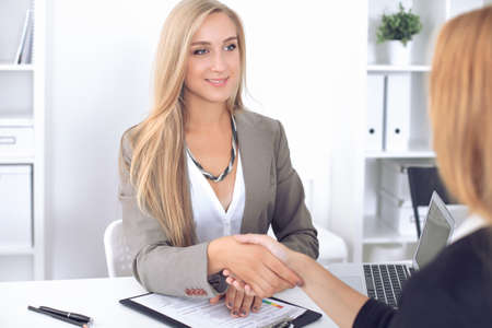 Businesswoman and client handshaking Stock Photo