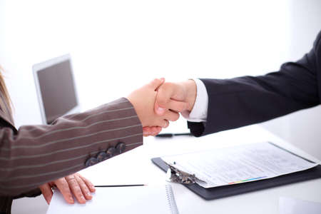 unanimous: Business handshake Stock Photo