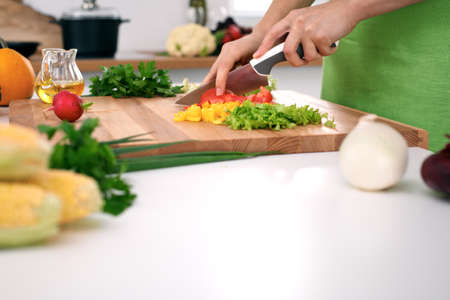 Close up of womans hands cooking in the kitchen. Housewife slicing fresh salad. Vegetarian and healthily cooking concept.