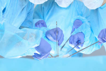 Close-up of unknown surgeons at work while operating at hospital. Health care and veterinary concept Banque d'images