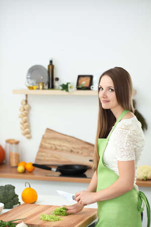 Young woman cooking in the kitchen. Housewife slicing fresh salad