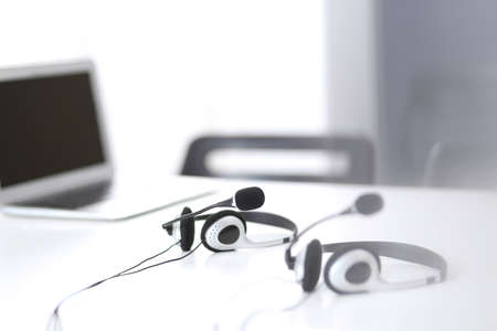 Communication support, call center and customer service help desk at empty office with no operators