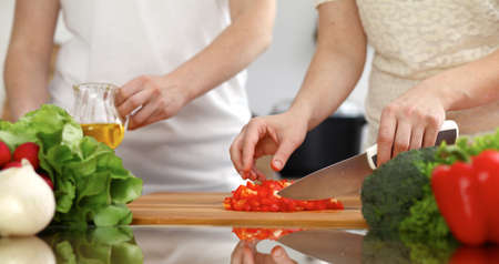 Closeup of human hands cooking in kitchen. Mother and daughter or two female friends cutting vegetables for fresh salad. Friendship, family dinner and lifestyle concepts Stockfoto