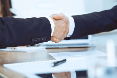 Business people shaking hands at meeting or negotiation in the office. Handshake concept. Partners are satisfied because signing contract Imagens - 121617180