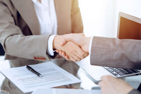 Business handshake after contract signing. Two women shaking hands after meeting or negotiation Stockfoto
