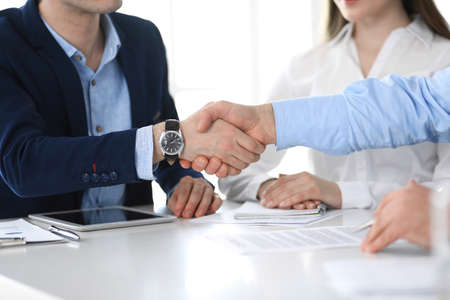 Business people shaking hands at meeting or negotiation, close-up. Group of unknown businessmen and women in modern office. Teamwork, partnership and handshake concept Stockfoto