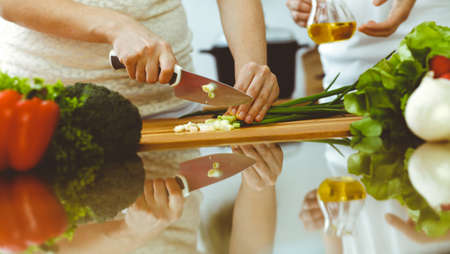 Closeup of human hands cooking in kitchen. Mother and daughter or two female friends cutting vegetables for fresh salad. Friendship, family dinner and lifestyle concepts Stock Photo