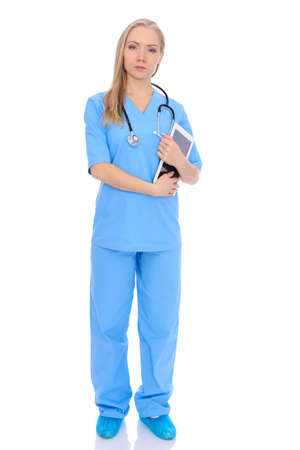 Doctor woman or nurse isolated over white background. Cheerful smiling medical staff representative. Medicine concept Stockfoto