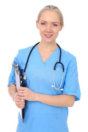 Doktorfrau oder -krankenschwester lokalisiert über weißem Hintergrund. Fröhlich lächelnder Vertreter des medizinischen Personals. Medizinkonzept