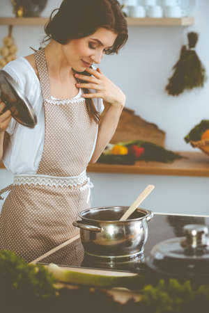 Young brunette woman cooking soup in kitchen. Housewife holding wooden spoon in her hand. Food and health concept Archivio Fotografico - 137463097