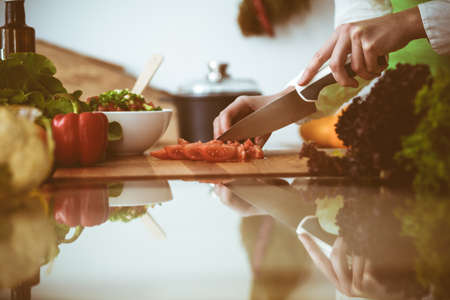 Unknown human hands cooking in kitchen. Woman slicing red tomatoes. Healthy meal, and vegetarian food concept