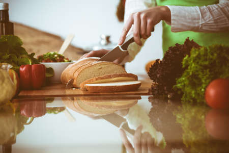 Unknown human hands cooking in kitchen. Woman slicing bread. Healthy meal, and vegetarian food concept