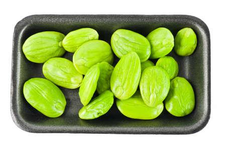 stinking: Tropical Stinking Edible Beans On White Background  Parkia Speciosa