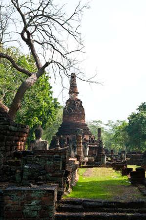 Old pagoda in historical park, Kamphaengphet province, Thailand